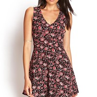 FOREVER 21 Paisley Floral Skater Dress Black/Red