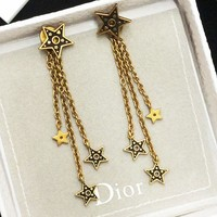 Dior Trending Women Retro Tassel Star Pendant Earrings Accessories Jewelry