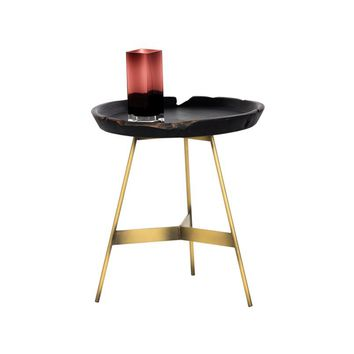 MONTY BRUSHED ANTIQUE BRASS STEEL BASE WITH THE SOLID TEAK TOP TRAY SIDE TABLE