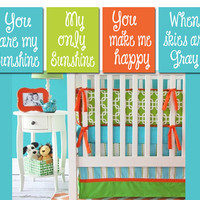 BOY You Are My SUNSHINE Wall Art Artwork Nursery Rhyme Quote Blue Lime Orange Baby Song Set of 4 Prints Baby Crib Decor