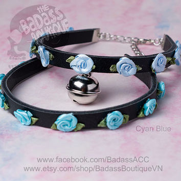 Ribbon rose Kitty bell black vegan leather collar, choker, necklace. Cosplay cat lover halloween jingle bell choker collar punk rock.