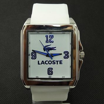 Lacoste tide brand fashion men and women stylish exquisite watches F-SBHY-WSL White + silver case + blue number dial