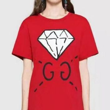 Fashion Casual Red Print Round Neck Pure Cotton T-Shirt