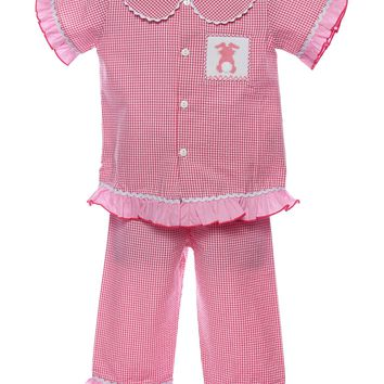 Mom & Me Baby Girl & Girl Smocked Patch Pocket Bunny Set