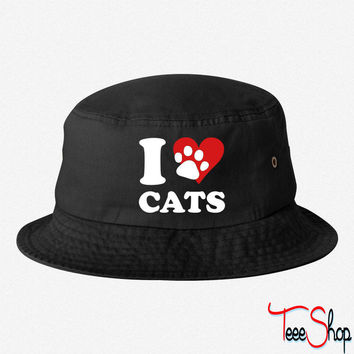 I Love my Cats bucket hat