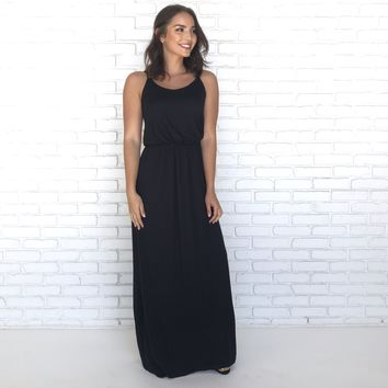 Keep Focus Black Maxi Dress