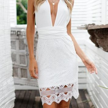a755299c335 White Patchwork Lace Bow Tie Back Deep V-neck Backless Midi Dress