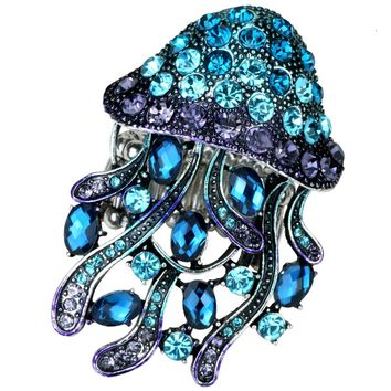 SHIPS FROM USA Jellyfish stretch ring antique gold silver color W crystal silk scarf jewelry gifts for for women girls