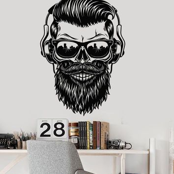 Vinyl Wall Decal Hipster Skull Sunglasses Musical Headphones Stickers Unique Gift (1447ig)