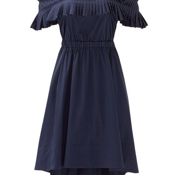 Tibi Navy Satin Poplin Ruffle Dress