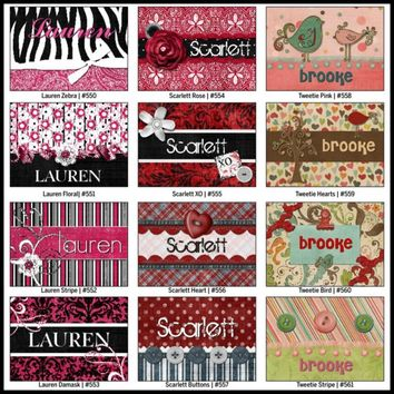BAG TAGS - Personalized Laminated Luggage Bag Tag - Snazzy Collection Series 1
