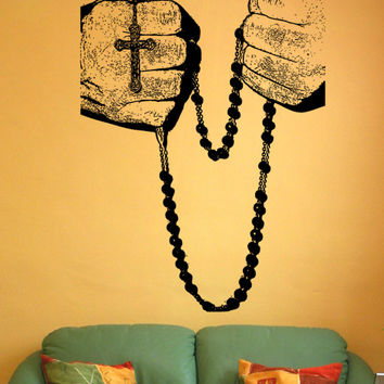 Vinyl Wall Decal Sticker Rosary Hands #5459