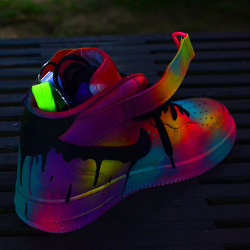 Neon Contrast Nike Air Force 1 Customs from BmoreCustom on Etsy 39e55c00dc