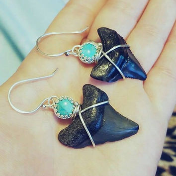 Megalodon Shark Tooth Earrings Bezel Set Turquoise and Sterling Silver Fossil Earrings Wire Wrapped Statement Earrings Black and Turquoise