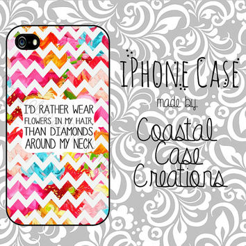 Floral Chevron Flowers and Diamonds Quote Apple iPhone 4 and 5 Hard Plastic or Rubber Phone Case Cover Original Design