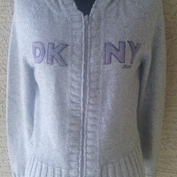 Vintage 90s hoodie DKNY New York Donna Karan - Gray - hooded sweatshirt - designer logo- medium - knit feel - zipper front  -
