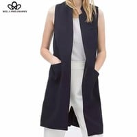 New stylish spring/summer women stand collar long suit vest black white dark blue with two pockets