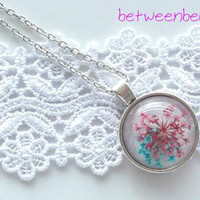 Flower Necklace Spring Blossom Real Pressed Flower Jewelry, Blue Red Flower Necklace Resin Round Dome Rose Nature