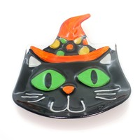 Tabletop CAT WITH WITCH HAT SHAPED PLATE Glass Halloween Black Kitty 2020160277