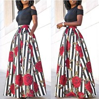 Multicolor Floral Print 2-in-1 Cut Out Off Shoulder Prom Party Maxi Dress