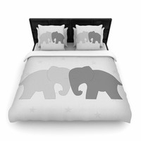 "NL Designs ""Black And White Elephant Love"" Black Animals Woven Duvet Cover"