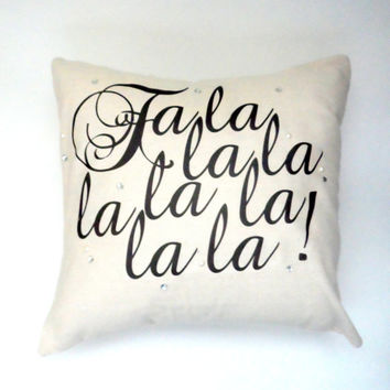 Fa La La La La Christmas Pillow Case, 14X14 Cream, Shabby Chic with Envelope Back, Home Decor, Vintage Look
