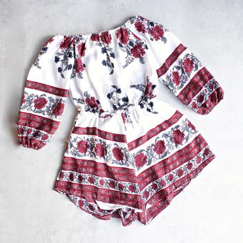 Reverse   Off The Shoulder Romper (3/4 Sleeves)   Red/floral