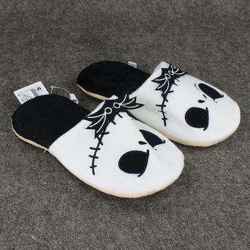 26cm The Nightmare Before Christmas Jack Skellington Plush Slipper Indoor Warm Shoes at Home for Adults