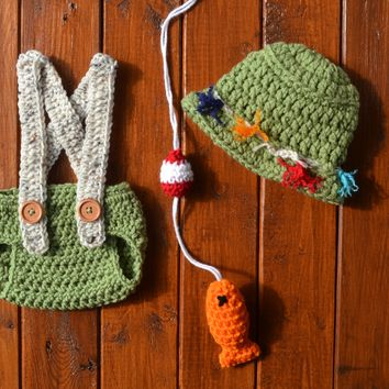 Crochet Baby Fisherman Outfit Newborn Fishing Photo Prop