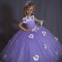 2016 Gorgeous Lavender Princess Ball Gown Girls Pageant Dress Kids Flowerr Girls Dresses Party Gown With Beaded Appliques F71