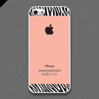 iPhone 5 Case - Zebra pattern on peach color - also available in iPhone 4 and iPhone 4S size