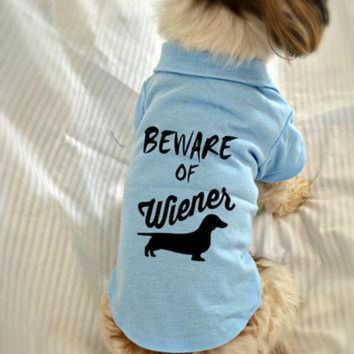 ONETOW Dachshund Dog Polo T-Shirt. Beware of Wiener Dog Shirt. Cute Dog Quotes. Puppy Small P