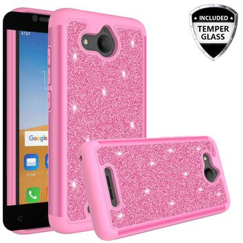 Alcatel Tetra Case, Tetra Glitter Bling Heavy Duty Shock Proof Hybrid Case with [HD Screen Protector] Dual Layer Protective Phone Case Cover for Alcatel Tetra W/Temper Glass - Hot Pink