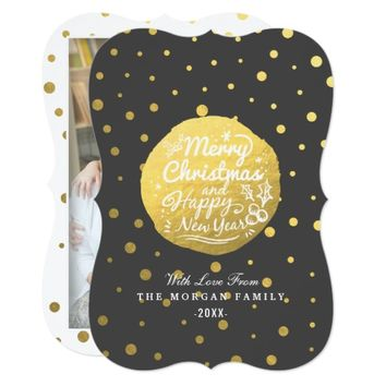 Black Gold Dots Christmas & New Year Script Photo Card