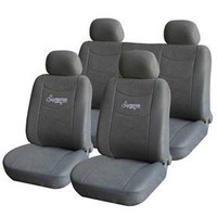 Adeco CV0208 8-Piece Car Vehicle Seat Covers - Whole Set - Universal Fit - Gray, Interior Decor
