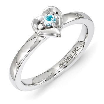 Sterling Silver Stackable Expressions Blue Topaz 6mm Heart Ring