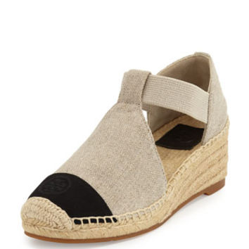Tory Burch Leonard Wedge Espadrille Sandal, Natural/Black