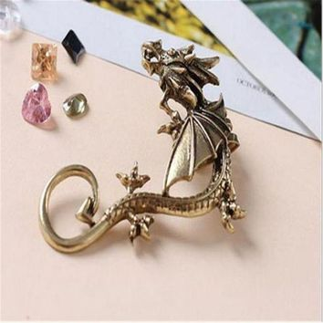 CREYN3C Dragon Earrings Non- Pierced Clip On Earrings Fake Ear Cartilage Cuff Ear Ring (Bronze)