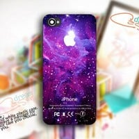 Super GALAXY NEBULA Apple Logo - Photo On Hard Cover For iPhone 4,4S