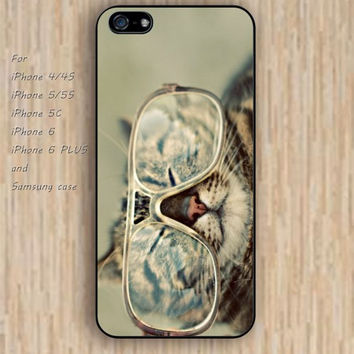 iPhone 5s 6 case colorful Wear glasses cat iphone case,ipod case,samsung galaxy case available plastic rubber case waterproof B246