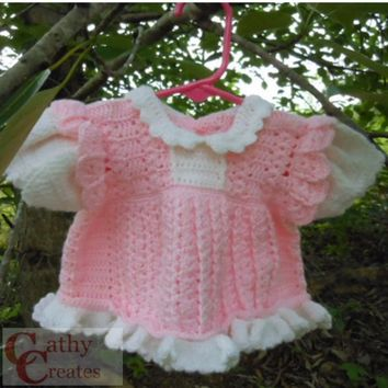 Girls Crocheted Pink Dress Set with Matching Panties and Booties