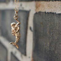 Gold Mermaid Necklace - 14K Gold Fill . Mermaid Jewelry . Nautical Fashion . Fantasy & Fairy Tales