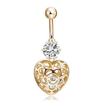 Hollow Out Heart Navel Piercing Ombligo Ring Sexy Golden Belly Button Rings Summer Body Piercing Nombril Ball Pircing SL