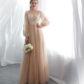 Dark Champagne Evening Dresses Long Sleeve Lace Applique Illusion Bodice Prom Gown