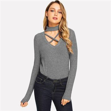 COLROVIE Black Solid Criss Cross Cut Out Elegant T Shirt Women Tops 2018 Autumn Grey Long Sleeve Tee Sexy Office Girl T-Shirts