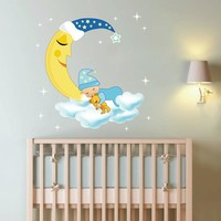 cik143 Full Color Wall decal Baby stars Sleep Month night bed children's room nursery