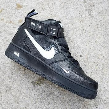 NIKE AIR FORCE 1 tide brand men and women models simple ow high-top shoes Black