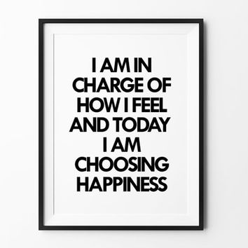 I am in charge of how i feel, poster, inspirational, wall decor, mottos, home, print, gift idea, typography art, life poster, motivational