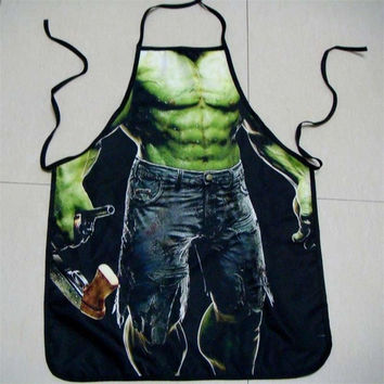 Hot Fashion New Incredible Hulk Print Kitchen Apron Funny Creative Cooking Aprons Gifts for Women Men (Size: One Size) = 1928006148
