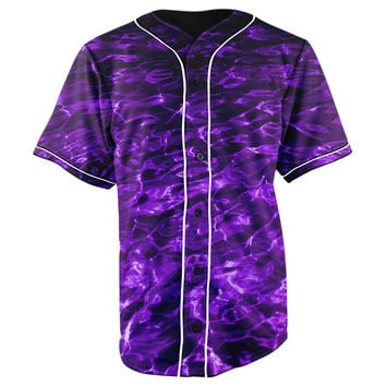 Purple River Button Up Baseball Jersey
